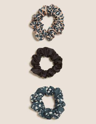 3 Pack Satin Printed Scrunchies