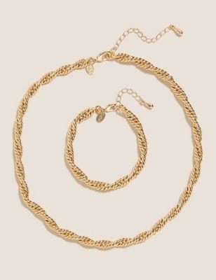 Twist Chain Necklace & Bracelet Set