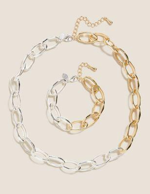 Mixed Chain Necklace & Bracelet Set