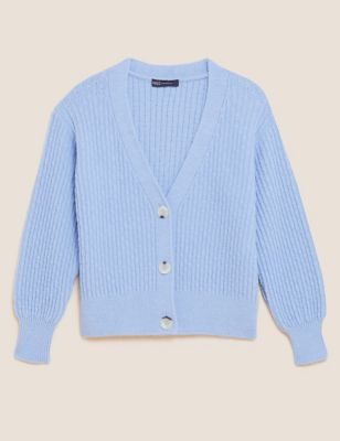 Textured V-Neck Button Front Cardigan