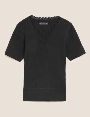 Knitted Ribbed V-Neck Lace Detail Top