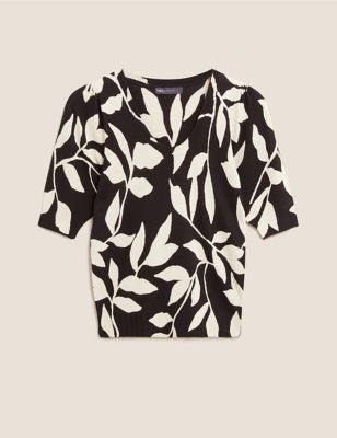 Knitted Leaf Print Scoop Neck Top