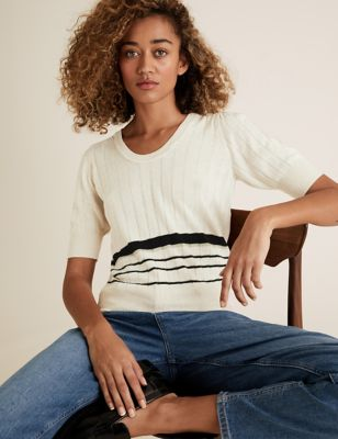 Knitted Ribbed Striped Scoop Neck Top