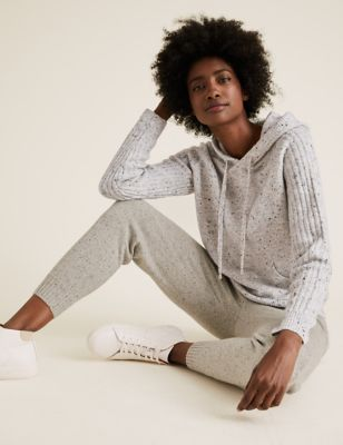 Textured Knitted Rib Sleeve Relaxed Hoodie