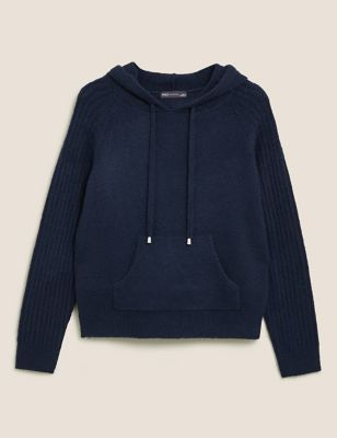 Knitted Rib Sleeve Relaxed Hoodie