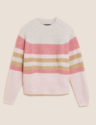 Striped Ribbed Crew Neck Relaxed Jumper