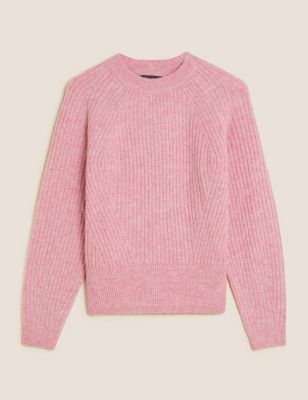 Ribbed Crew Neck Relaxed Jumper