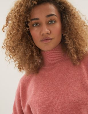 Textured Funnel Neck Relaxed Jumper