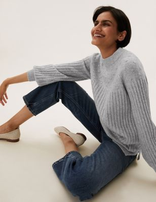 Textured Ribbed Crew Neck Relaxed Jumper