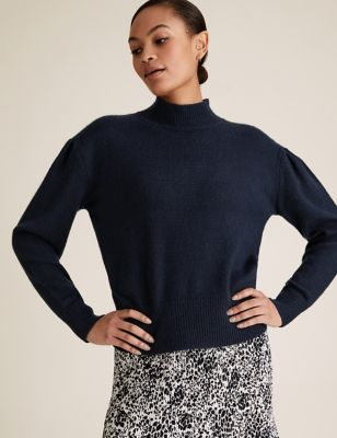 Funnel Neck Pleat Sleeve Relaxed Jumper