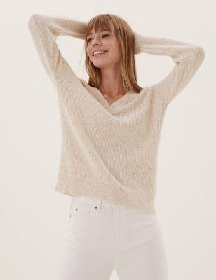 Cotton Textured V-Neck Jumper