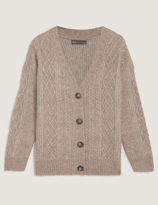 Cable Knit V-Neck Cardigan with Wool