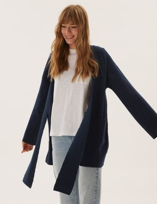 Tie Front Relaxed Longline Cardigan
