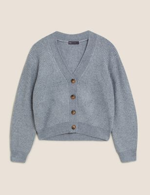 Textured Ribbed V-Neck Button Cardigan