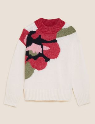 Floral Crew Neck Jumper with Wool