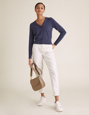 Cotton V-Neck Button Front Cardigan