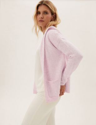 Cropped Hooded Cardigan with Wool