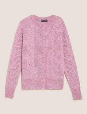 Cable Knit Button Front Cardigan with Wool