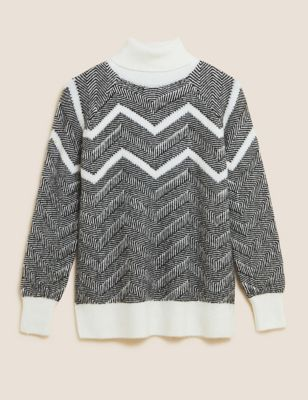 Abstract Roll Neck Jumper