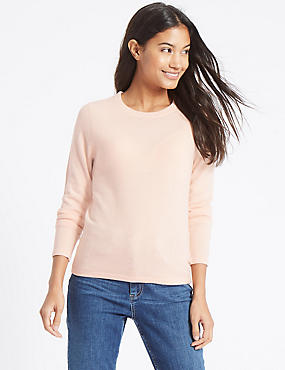 Soft Ribbed Round Neck Jumper, PALE PINK, catlanding