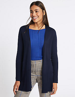 Open Front Ribbed Cardigan , , catlanding