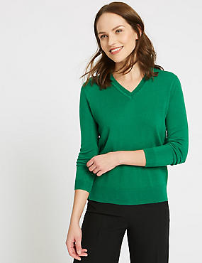 V-Neck Jumper, EMERALD, catlanding