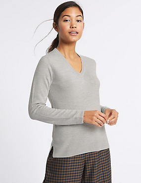 V-Neck Jumper, GREY MARL, catlanding