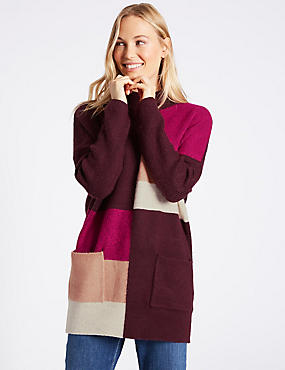 Colour Block Turtle Neck Tunic Jumper, PURPLE MIX, catlanding