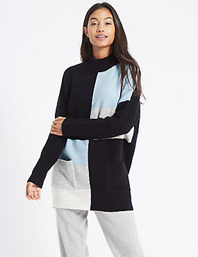 Colour Block Turtle Neck Tunic Jumper, BLUE MIX, catlanding