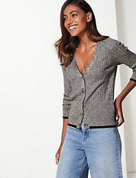 6c431a741f0997 Ribbed V-Neck Cardigan | Autograph | M&S