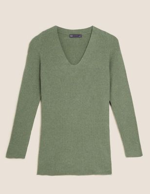Soft Touch Ribbed V-Neck Relaxed Jumper