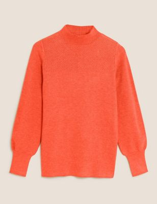 Soft Touch Ribbed Funnel Neck Jumper