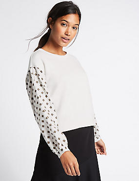 Pure Cotton Poplin Printed Sleeve Jumper, CREAM MIX, catlanding