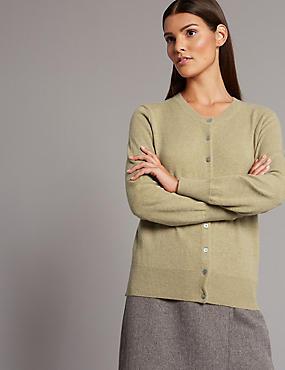 Pure Cashmere Button Through Cardigan, DARK CAMEL, catlanding