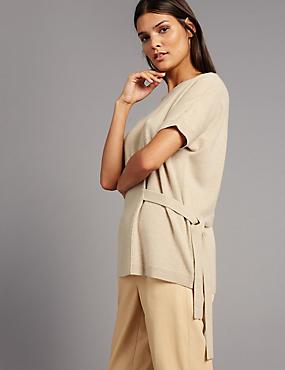 Pure Cashmere Side Tie Short Sleeve Jumper, DARK CAMEL, catlanding
