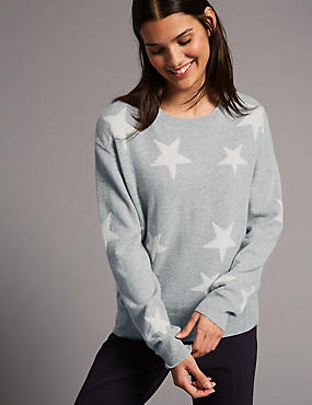 Pure Cashmere Oversized Star Jumper, GREY MIX, catlanding