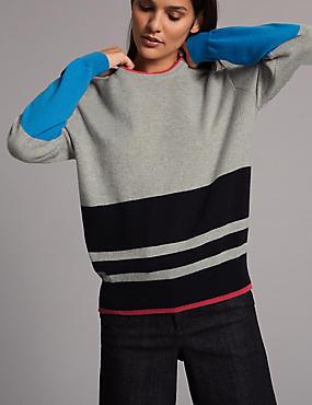 Pure Cashmere Colour Block Striped Jumper, GREY MIX, catlanding