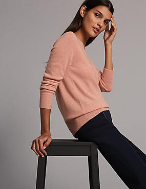 Pure Cashmere Ribbed Hem V-Neck Jumper, COPPER ROSE, catlanding