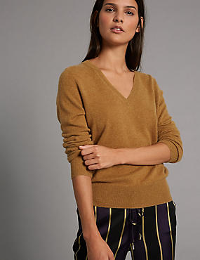 Pure Cashmere Ribbed Hem V-Neck Jumper, SOFT GOLD, catlanding