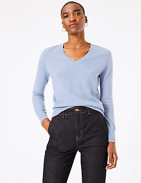 Pure Cashmere Ribbed Hem V-Neck Jumper, BLUEBELL, catlanding