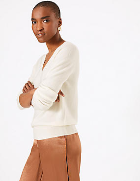 Pure Cashmere Ribbed Hem V-Neck Jumper, CREAM, catlanding
