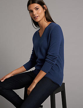 Pure Cashmere Ribbed Hem V-Neck Jumper, RICH BLUE, catlanding