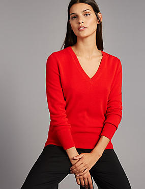 Pure Cashmere Ribbed Hem V-Neck Jumper, POPPY, catlanding