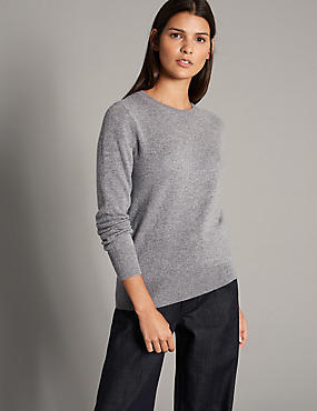 Pure Cashmere Ribbed Round Neck Jumper, MID GREY, catlanding