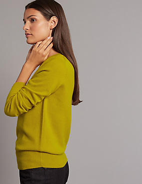 Pure Cashmere Ribbed Round Neck Jumper, WINTER LIME, catlanding