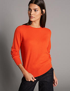 Pure Cashmere Ribbed Round Neck Jumper, DARK ORANGE, catlanding