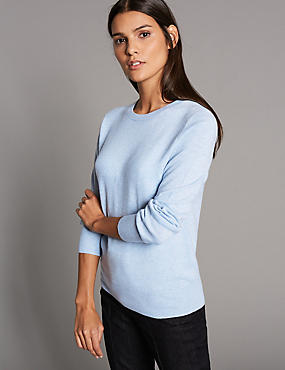 Pure Cashmere Ribbed Round Neck Jumper, CHAMBRAY, catlanding