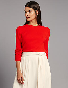 Pure Cashmere Ribbed Round Neck Jumper, POPPY, catlanding