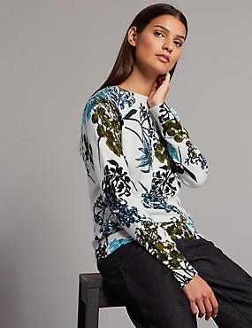Pure Cashmere Floral Print Jumper, NAVY MIX, catlanding