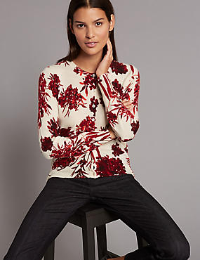 Pure Cashmere Floral Print Cardigan, RED MIX, catlanding